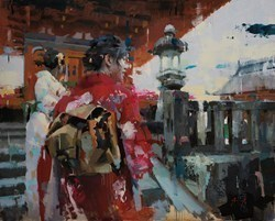 Geishas at Dera Temple by Christian Hook - Limited Edition on Canvas sized 38x30 inches. Available from Whitewall Galleries